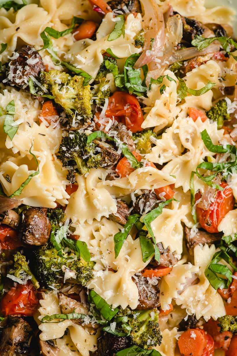 Bowtie pasta with roasted vegetables.