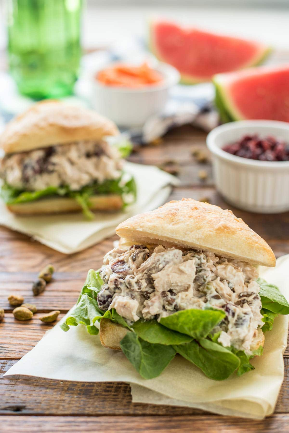 Cranberry Chicken Salad Sandwiches on a ciabatta roll