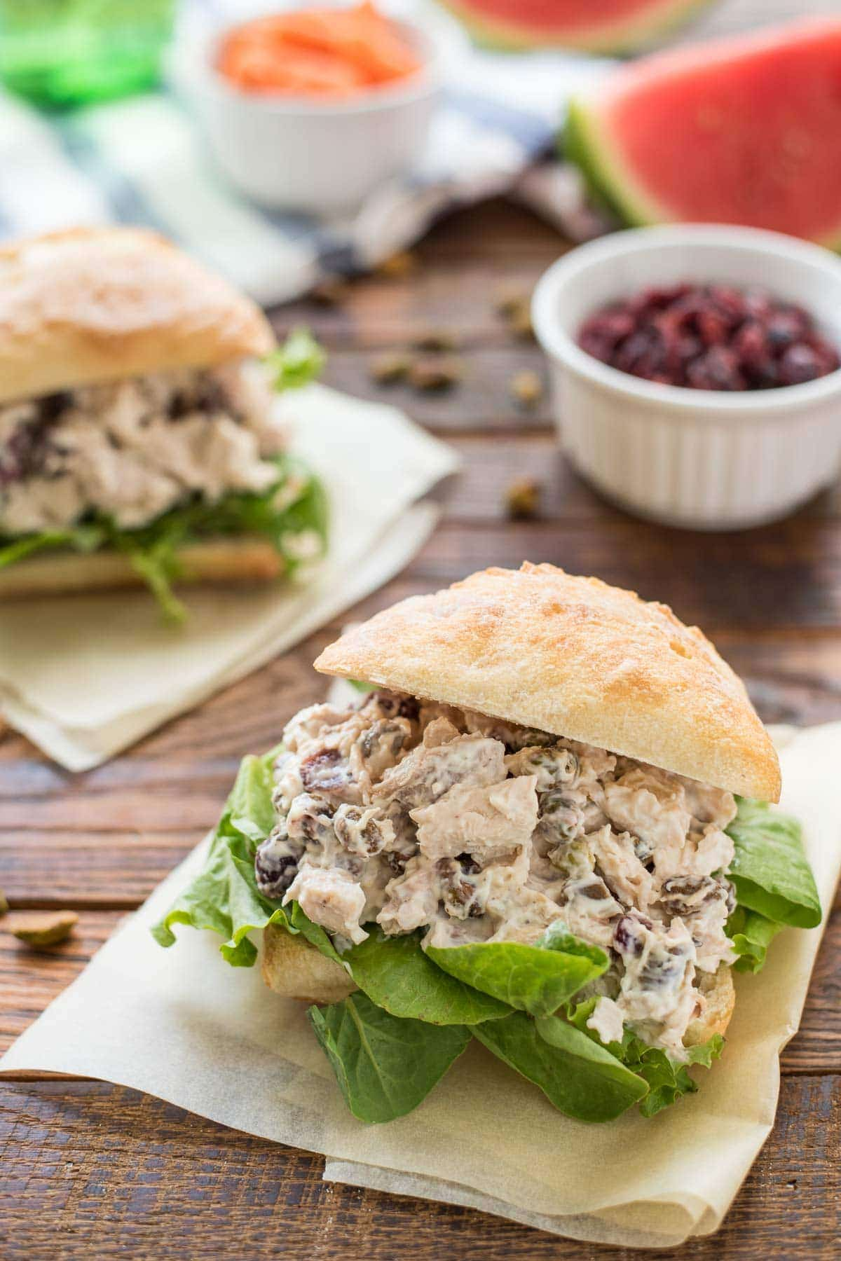 This Cranberry Chicken Salad studded with crunchy pistachios is the perfect spring and summertime lunch.