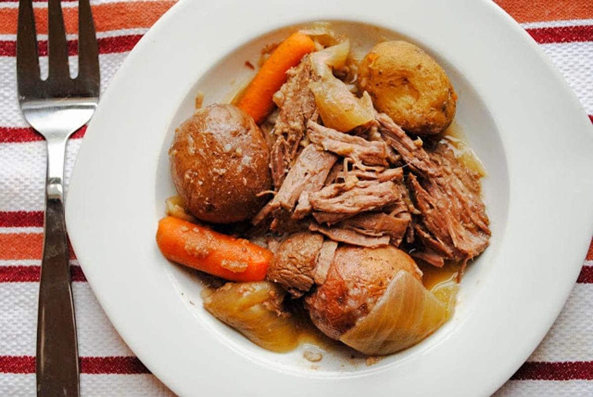 Tender Beer Soaked Crock Pot Roast from Neighborfoodblog.com