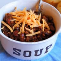 Crockpot chili centered close up