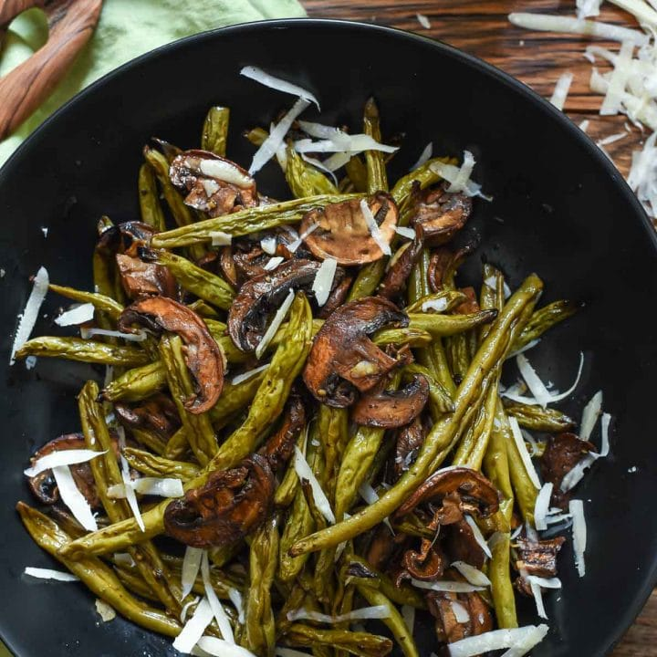 These Balsamic Roasted Green Beans and Mushrooms are a great easy side dish with tons of flavor!