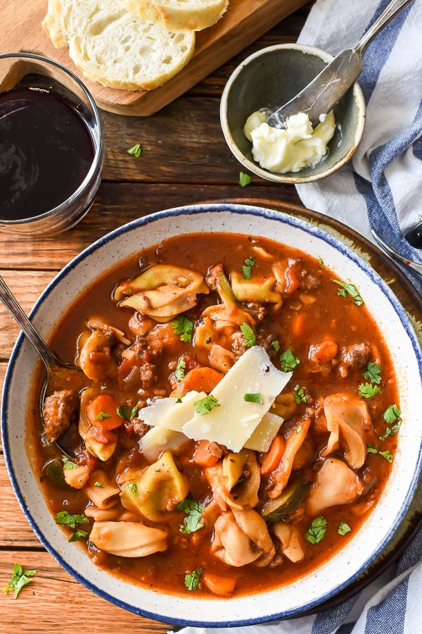 There's nothing better than a bowl of hot Italian Sausage Tortellini Soup on a cold winter night! This recipe will knock your socks off!