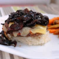 Burger with balsamic jam open face