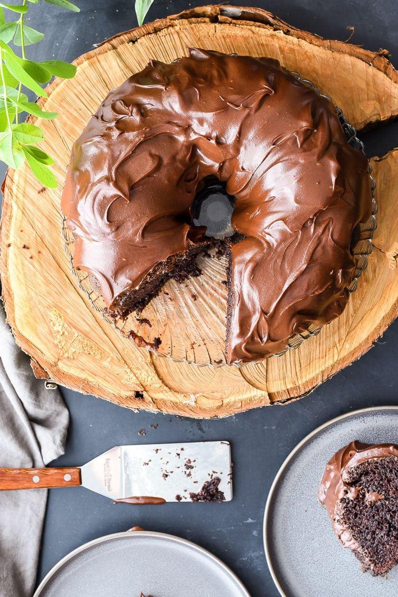 Overhead shot of best chocolate bundt cake with glaze