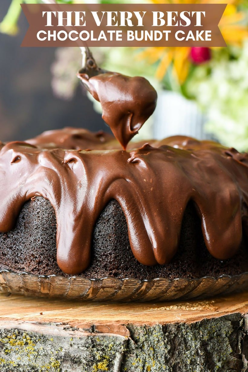 Best Chocolate Bundt Cake with Spoon Spreading Chocolate Frosting