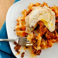 Savory Cheese Waffles with Chorizo and Fried Egg
