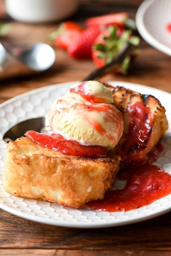 Grilled Angel Food Cake with Scoop of Ice Cream and Strawberry Rhubarb Compote on top