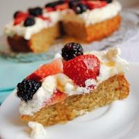 Pistachio Honey Cake with Berries and Cream