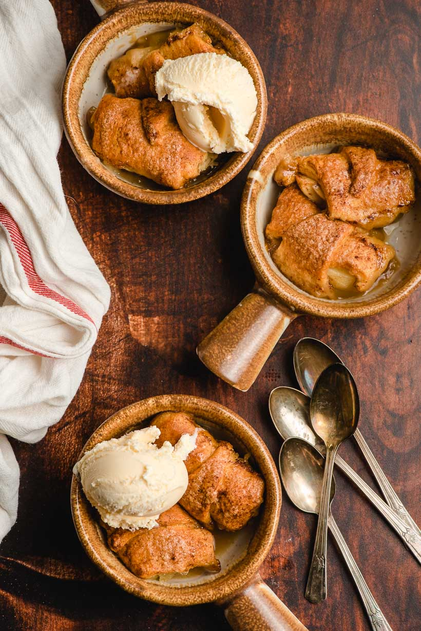 three bowls filled with easy apple dumplings