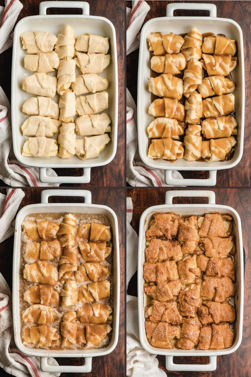 step by step photos for making easy apple dumplings with crescent rolls