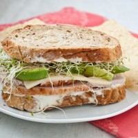Turkey, Avocado, and Sprout Sandwich