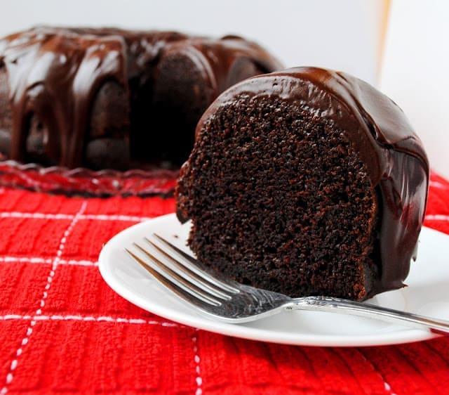 Chocolate Bundt Cake with Chocolate Sour Cream Glaze