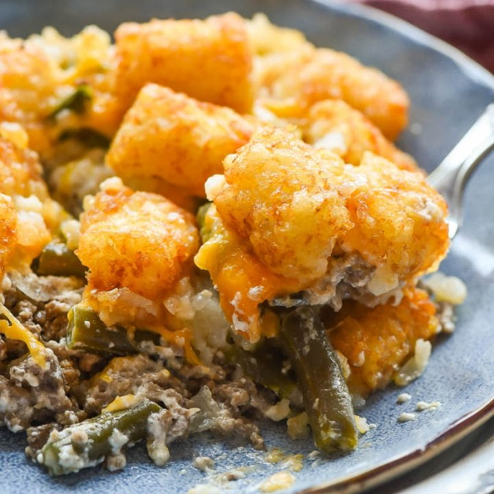Green Bean Tater Tot Casserole scoop on a plate