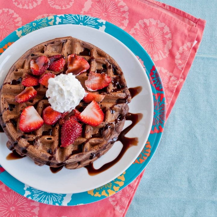Double Chocolate Waffles with Fresh Strawberries and Whipped Cream