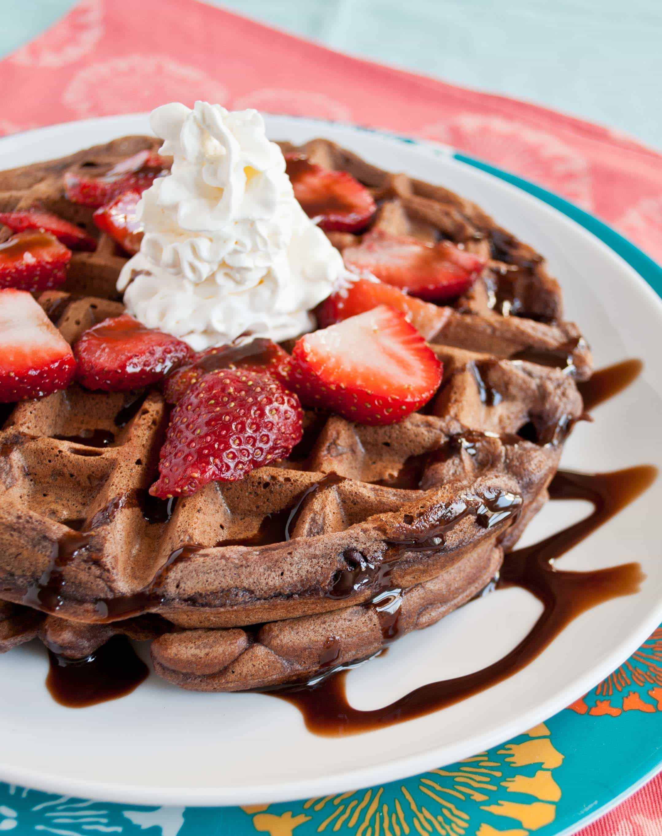 Double Chocolate Waffles with Strawberries and Whipped Cream