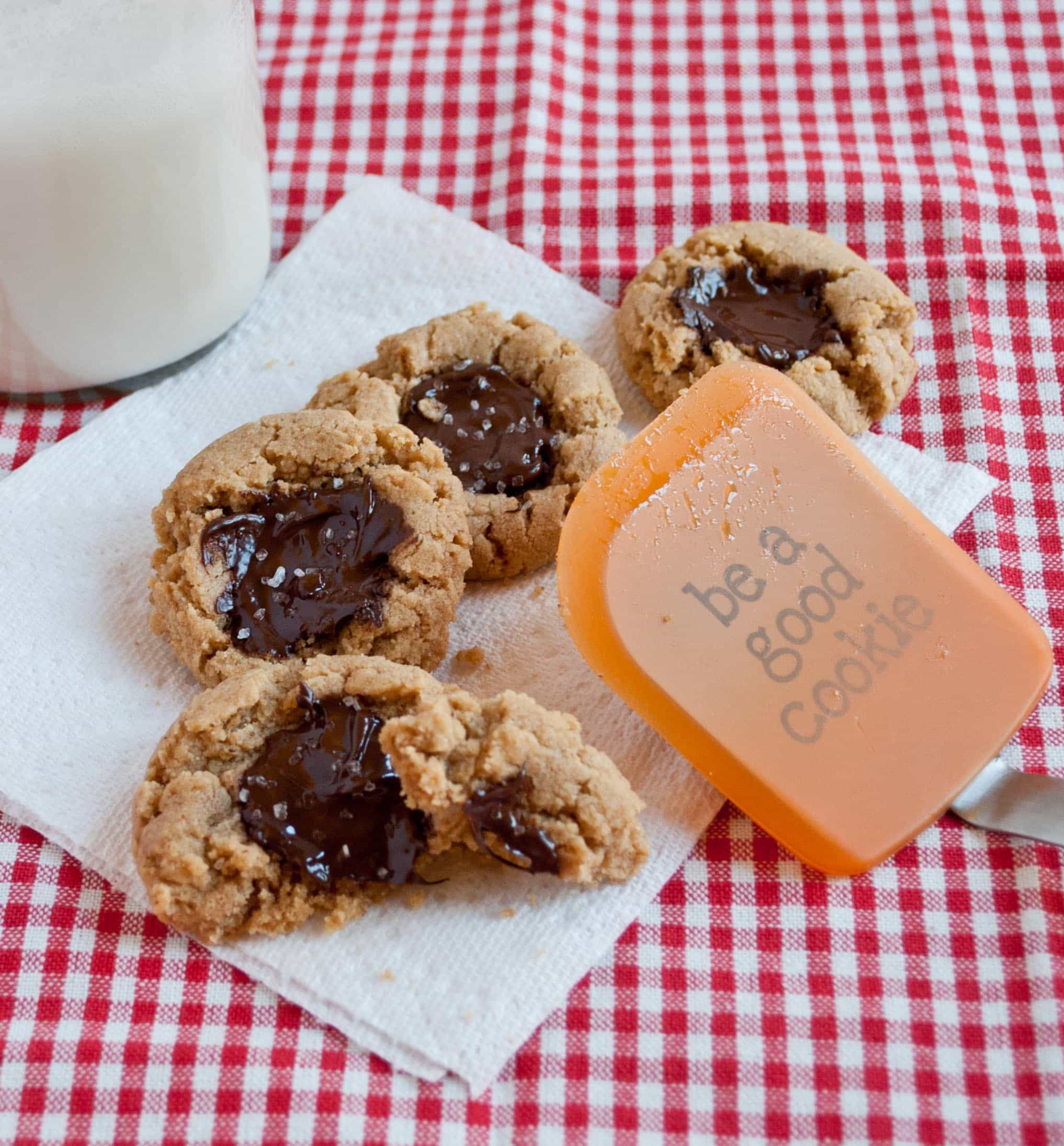Peanut Butter Chocolate Thumbprint Cookies with Sea Salt