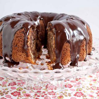 Strawberry Chocolate Banana Split Bundt Cake