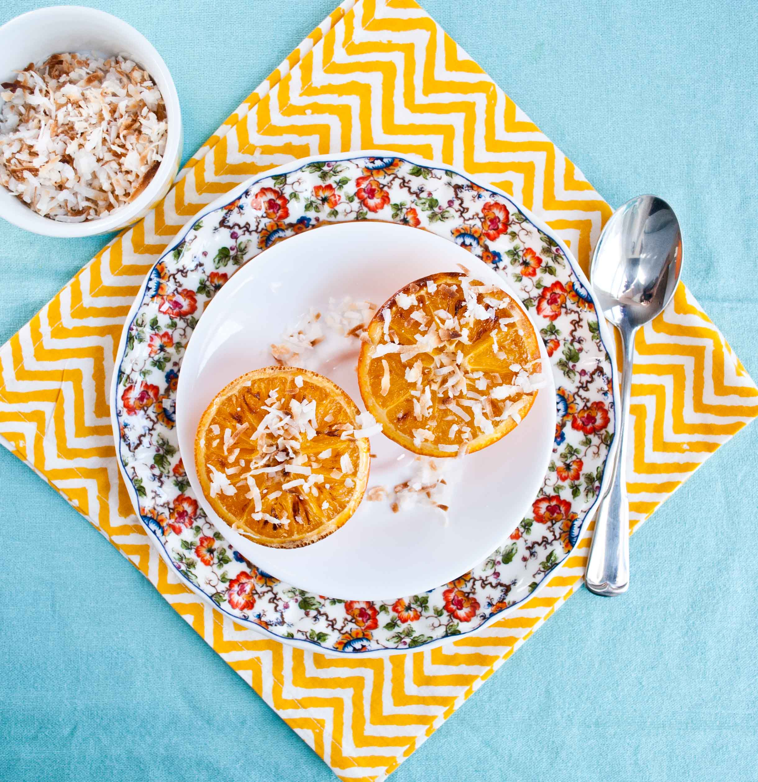 Broiled Oranges with Toasted Coconut