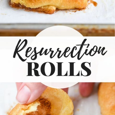 Resurrection Rolls on a sheet pan with cinnamon sugar centers