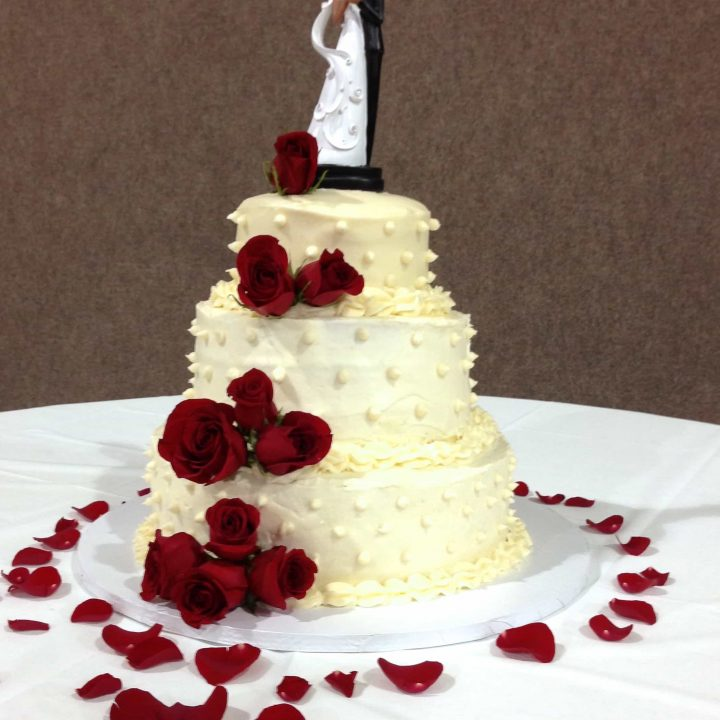 Three Tier Wedding Cake with Roses