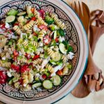 Gather Round the Grill: Greek Pasta Salad with Crab and Feta