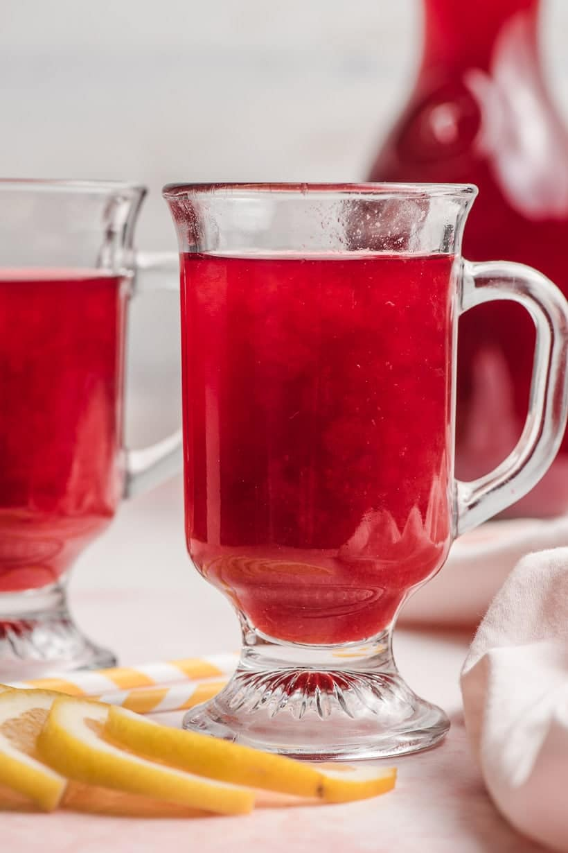 glass of raspberry cordial