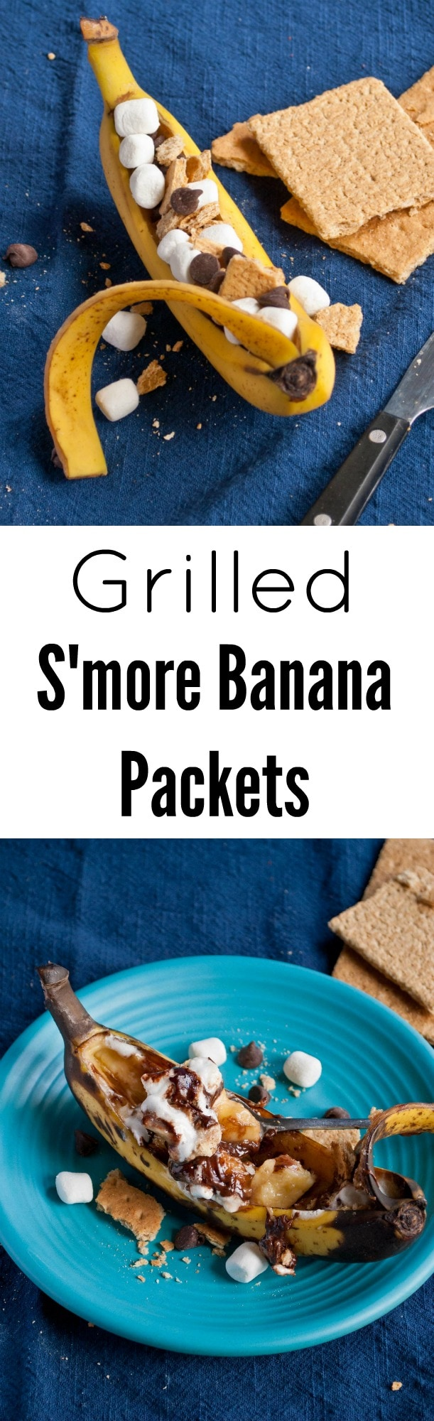 These Grilled S'more Banana Packets are such a fun and easy dessert for summer! Kids and adults both love them!