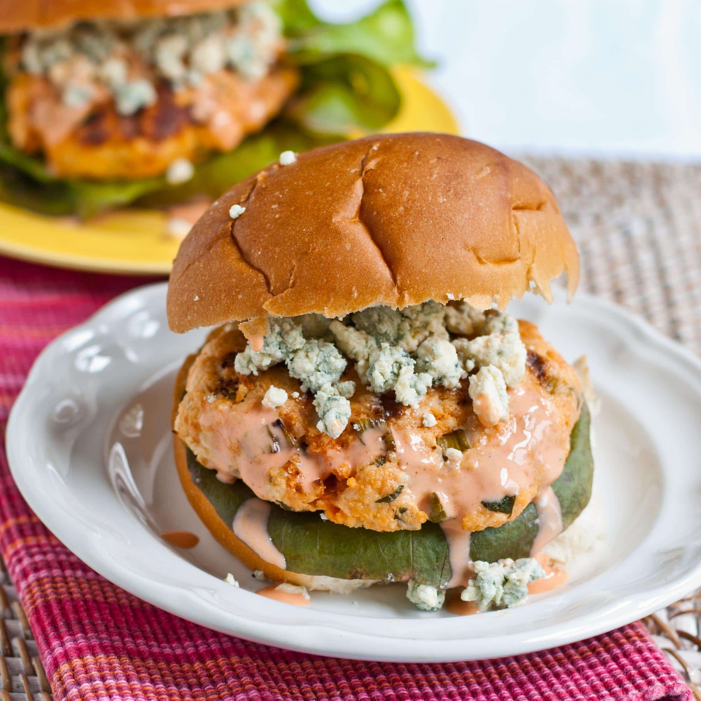 Buffalo Blue Cheese Chicken Burgers | Neighborfoodblog.com