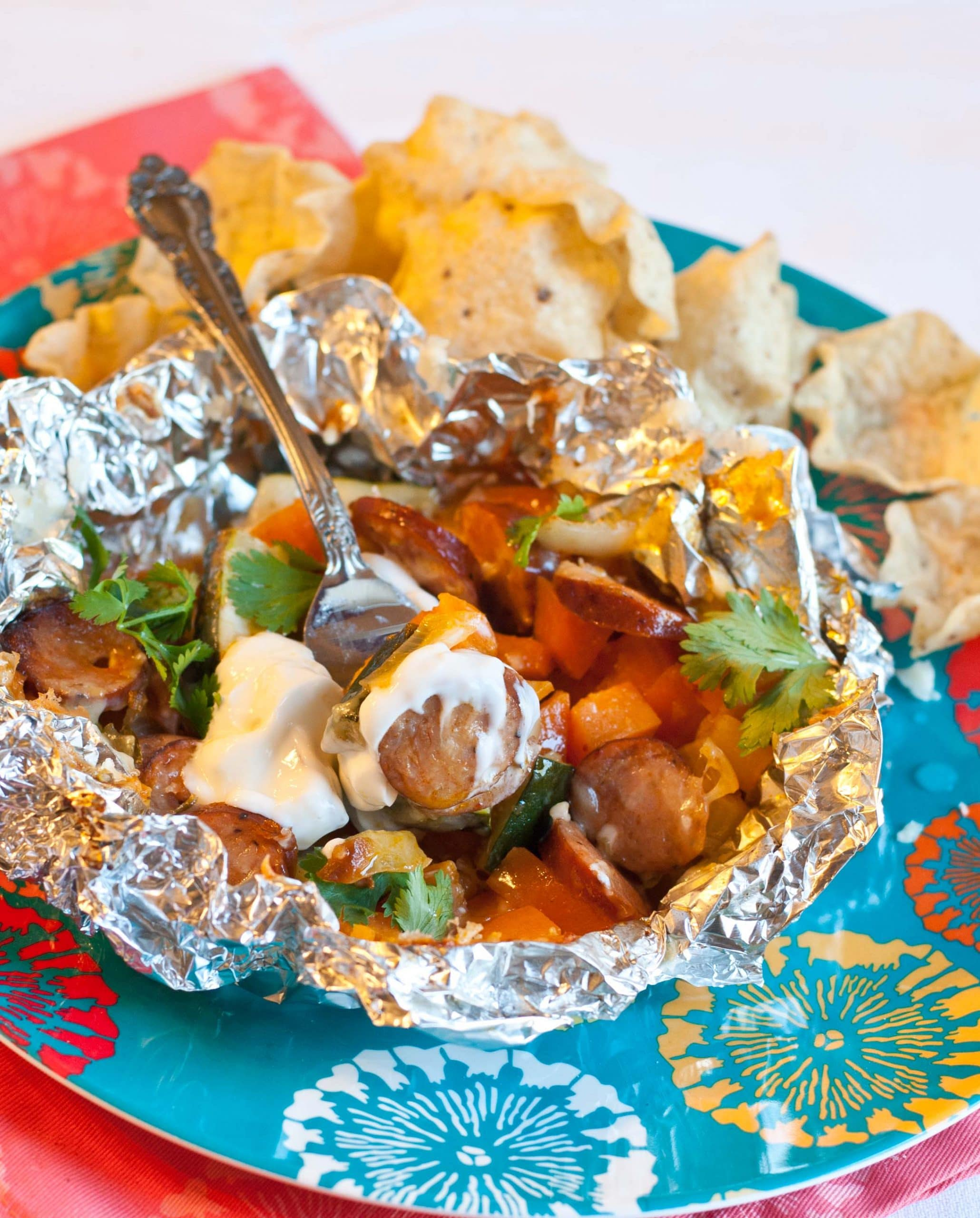 Grilled Chipotle Sweet Potato and Chicken Sausage Foil Packets | Neighborfoodblog.com