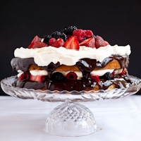 Gluten Free Coconut Cake with Fresh Berries, Ganache, and Whipped Cream for #SundaySupper