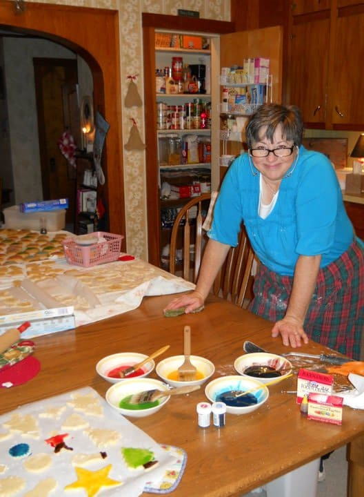 mom and table