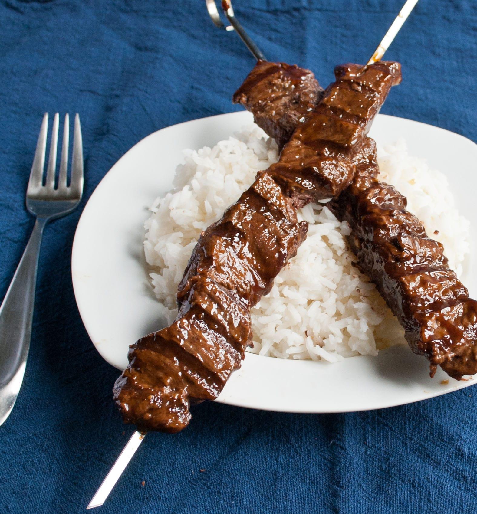 Grilled Teriyaki Beef Skewers   Neighborfoodblog.com