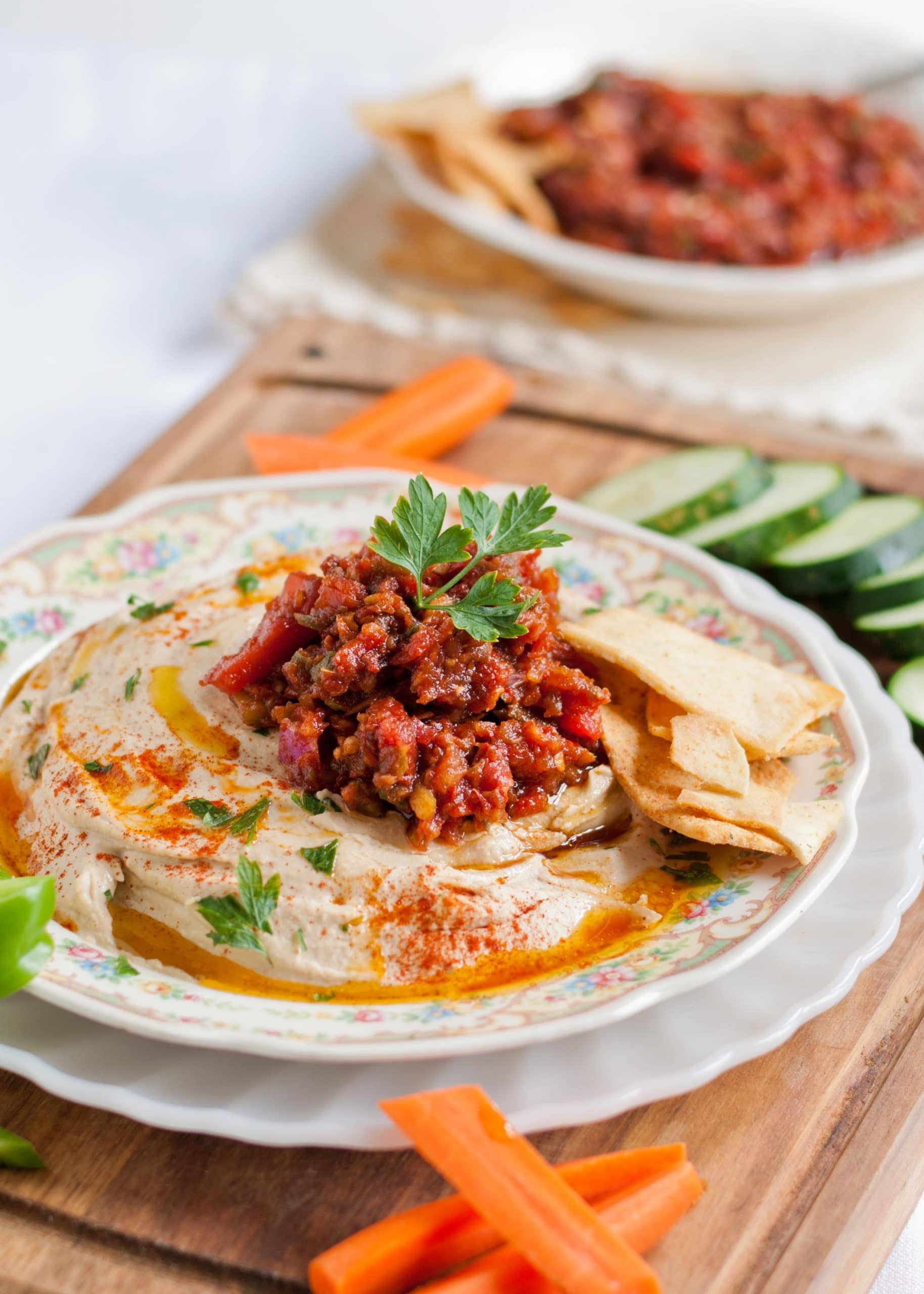 Spicy Turkish Ezme Salad and Hummus | Neighborfoodblog.com