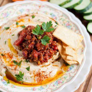 Homemade Hummus and Spicy Turkish Ezme Salad #SundaySupper