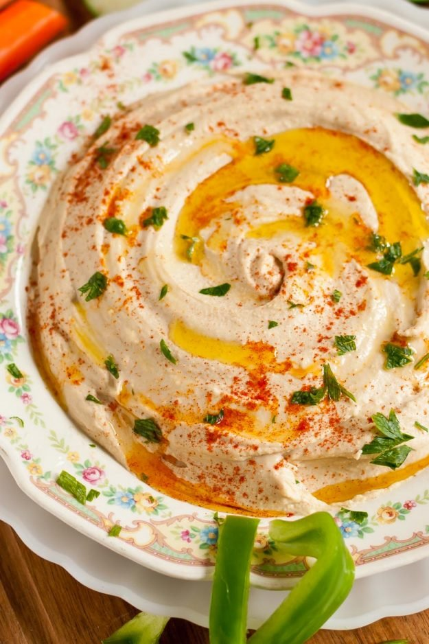Close-up of Homemade Hummus in a serving dish