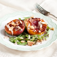 Broiled Nectarines with Cashews, Bacon, Arugula, and Balsamic Cream