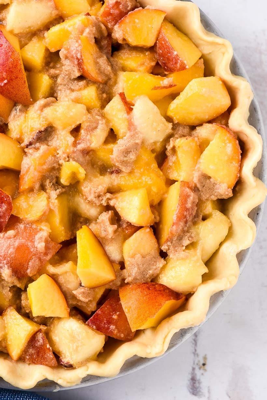 Close up of peach pie filling