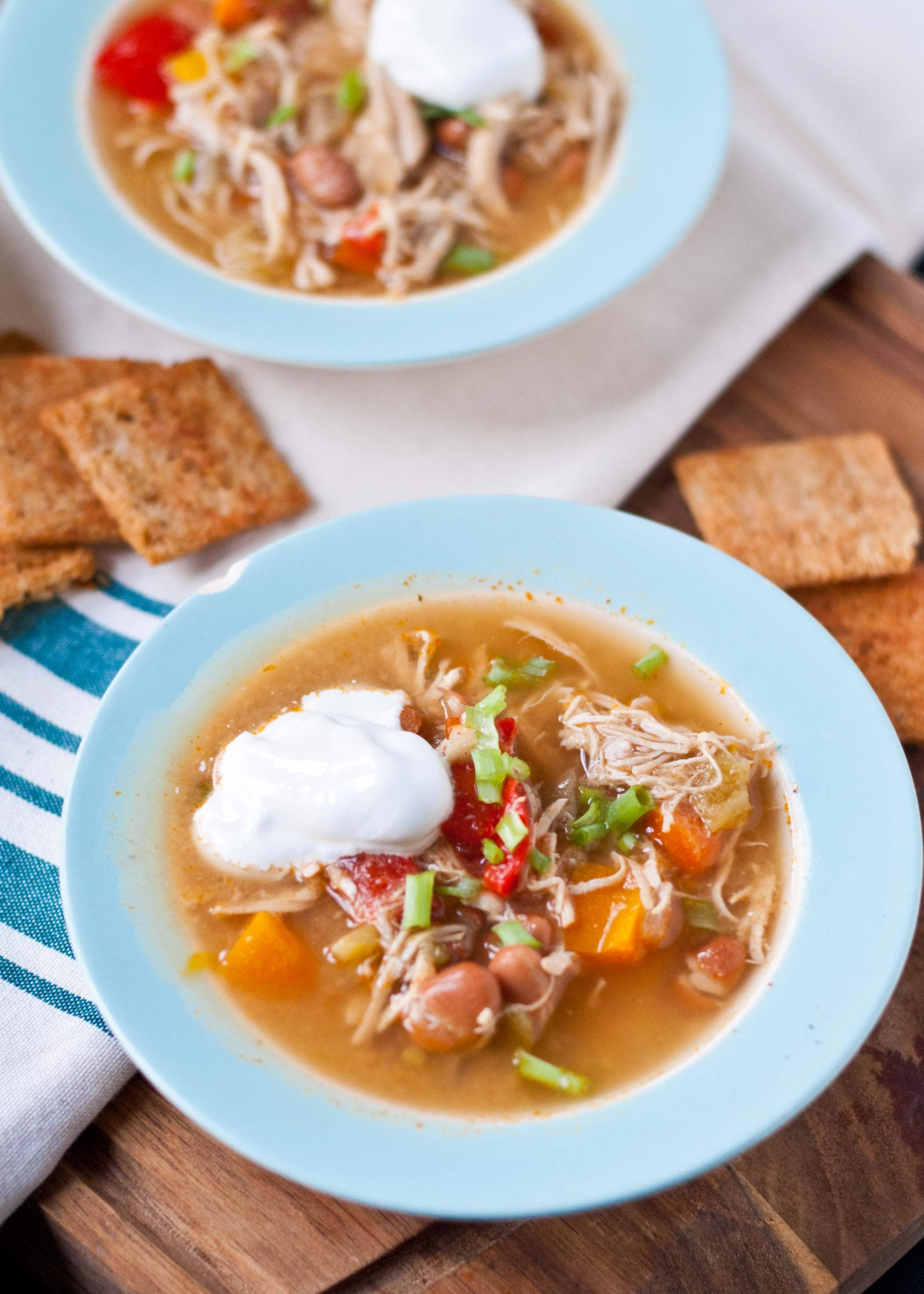 Warm up with this Slow Cooker White Chicken Chili!