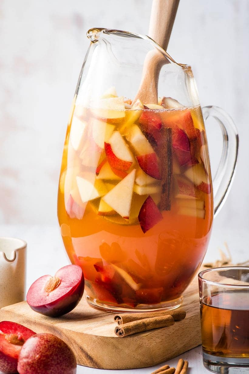 autumn sangria in a large pitcher