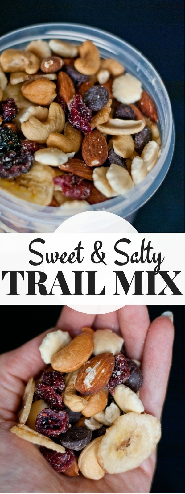 How to make healthy sweet and salty trail mix neighborfoodblog raisins cranberries cashews almonds chocolate and banana chips in a storage how to make ccuart Gallery