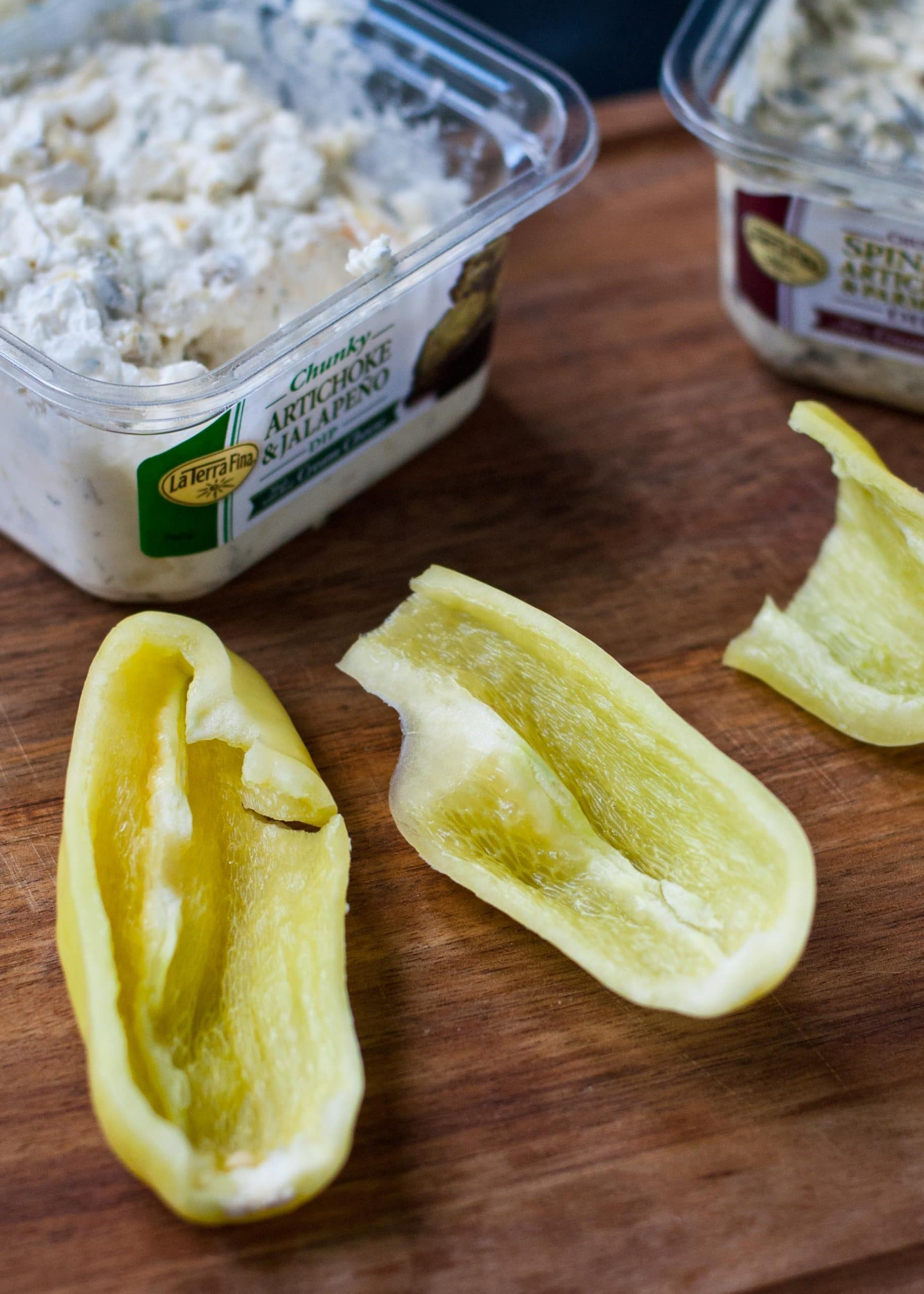 Crescent Wrapped Jalapeno and Artichoke Dip Stuffed Peppers | Neighborfoodblog.com A 3 ingredient, 20 minute appetizer! #tailgating