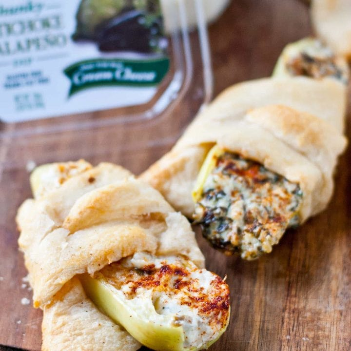 Crescent Wrapped Jalapeno and Artichoke Dip Stuffed Peppers