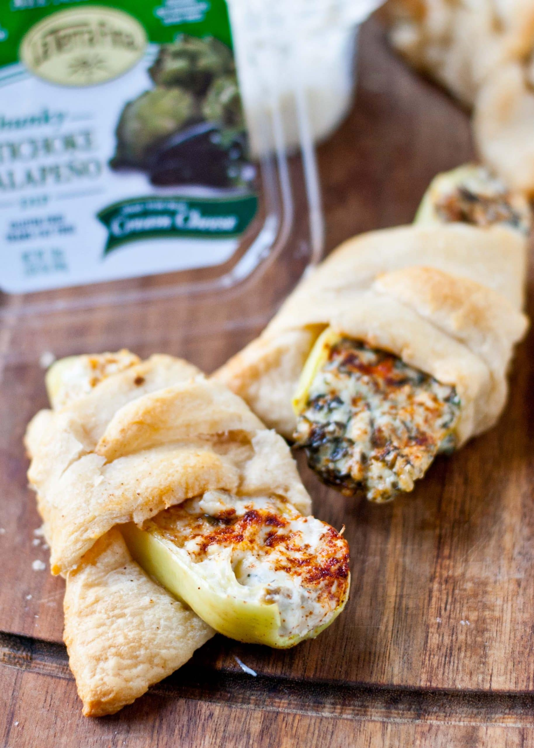 Crescent Wrapped Jalapeno and Artichoke Dip Stuffed Peppers   Neighborfoodblog.com A 3 ingredient, 20 minute appetizer! #tailgating