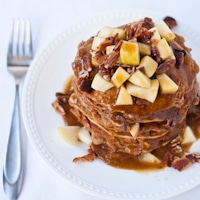 Apple Nut Pancakes with Cider Syrup and Bacon thumbnail