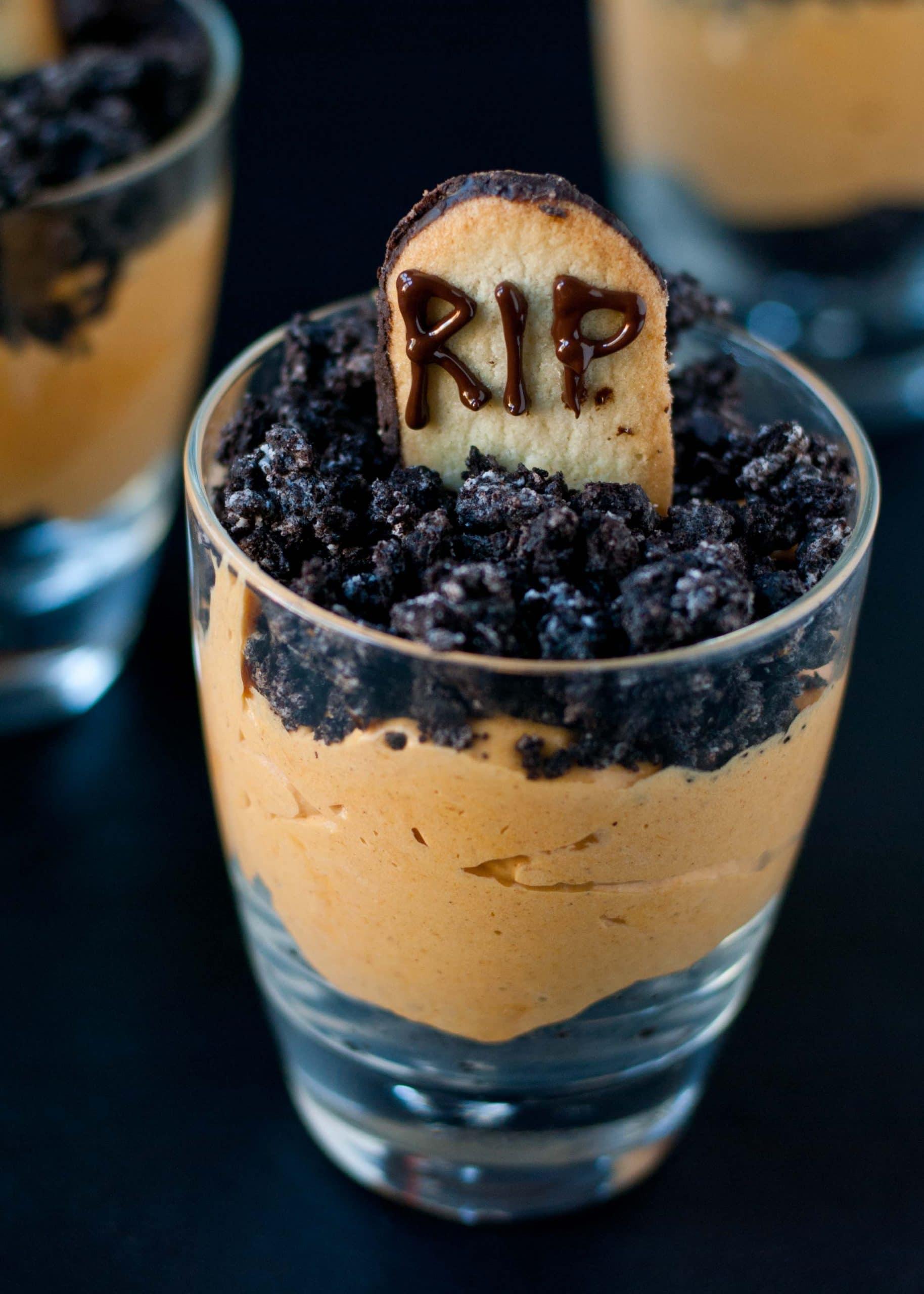 Pumpkin Dirt Pudding Graveyard Parfaits | Neighborfoodblog.com #pumpkin #Halloween #recipe