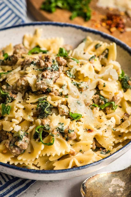 white bowl of Italian Sausage pasta