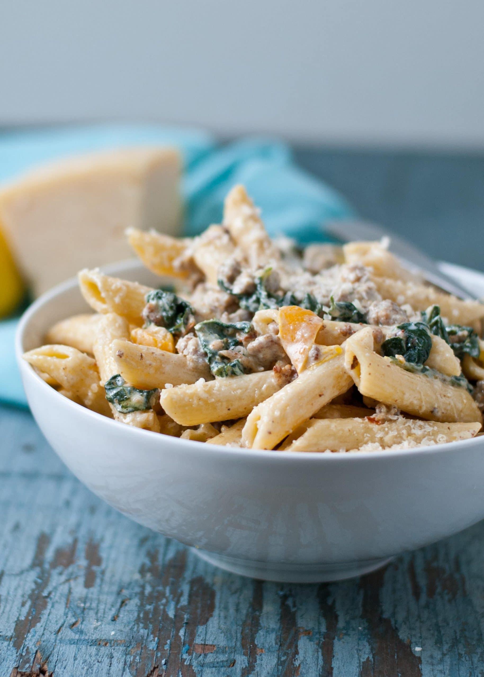 Creamy Parmesan, Kale, and Sausage Pasta | Neighborfoodblog.com