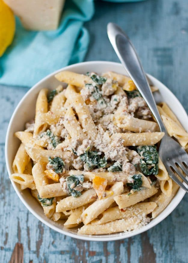 Creamy Parmesan, Sausage, and Kale Penne | Neighborfoodblog.com