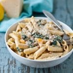 Creamy Parmesan, Sausage, and Kale Penne